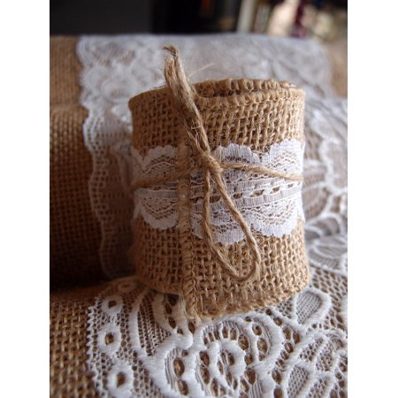 Lace Leather Wrap - Quasimoon Burlap and Lace Style No.4 Fabric Wrap Roll (2.4 x 6 Ft) by PaperLanternStore