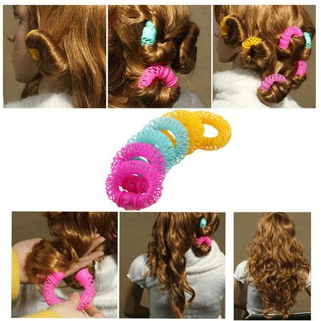 - 6 Pcs Hairdress Magic Hair Styling Roller Curler Spiral Curls DIY Tools