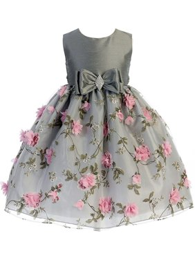 404fcfad321 Product Image Crayon Kids Little Girls Silver Pink Flower Brooch Bow  Christmas Dress
