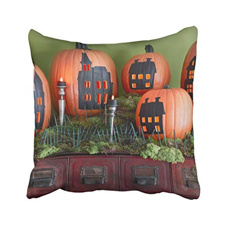 WinHome Halloween Funny Pumpkins Drawing And Candles And Green Plants Decorative Pillowcases With Hidden Zipper Decor Cushion Covers Two Sides 18x18 inches - Halloween Plants