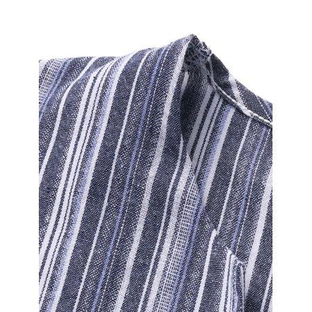 Women Casual Split Stripe DressCasual Front Pockets3/4 Sleeve,V NeckSoft Breathable MaterialSuitable for Travel,Beach,Daily Wear - image 9 de 11