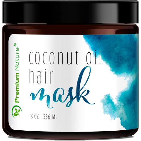 Coconut Oil Hair Mask Deep Conditioner for Dry Damaged Hair Conditioning Growth Treatment 8oz 100% Repairs Restores & Nourishes by Premium
