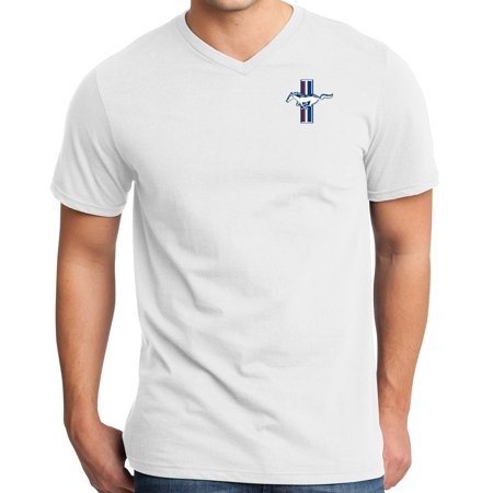 Mens Ford Mustang GT Legend Lives Crest (pocket print) V-neck Shirt - White, Extra Small