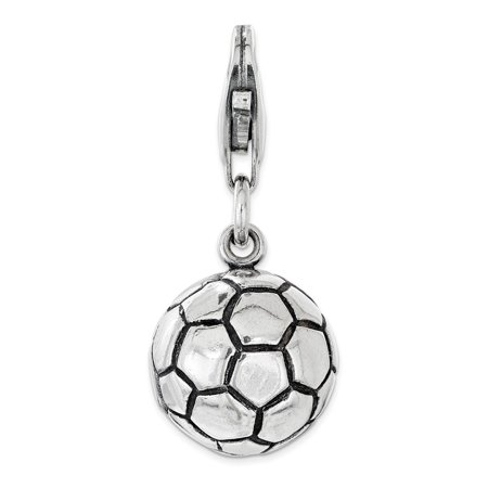 Amore La Vita Sterling Silver Polished and Antiqued Soccer Ball Click-On Lobster Clasp Charm