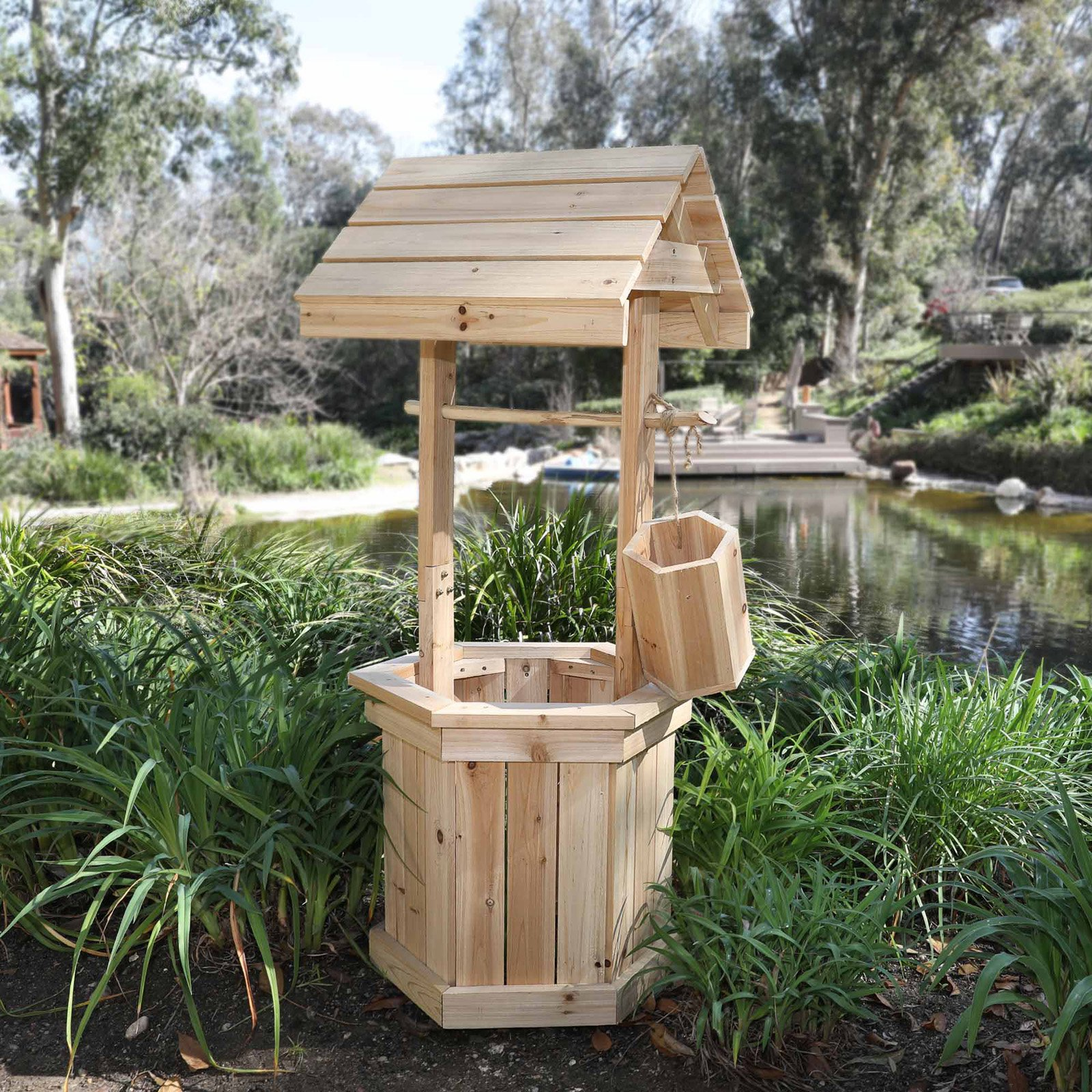 "Shine Company Decorative 55"" High Wishing Well - Natural"