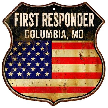 COLUMBIA, MO First Responder American Flag 12x12 Metal Shield Sign S122504 - Halloween Store Columbia Mo