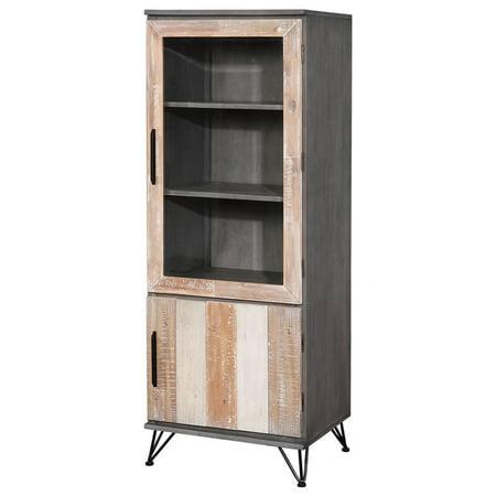 Furniture of America Estelle 2 Door Pier Cabinet in Gray