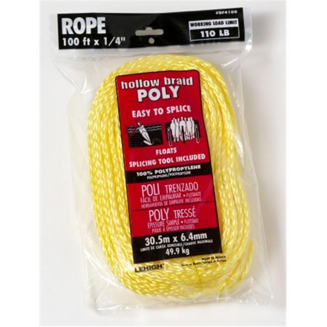 Lehigh Group .25in. 100ft. Hollow Braid Polypropylene Floating Rope  DF4100W-P