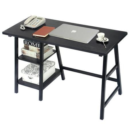 "GHP 46""x20""x29"" Black Iron Tube MDF Board & PVC Full-Size Home Office Computer Desk"