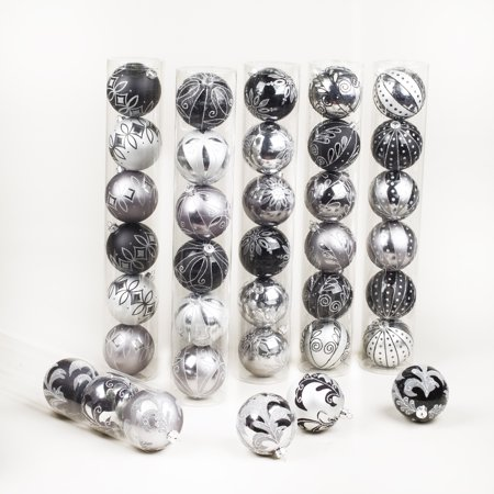 6 Black/Silver Decorated Shatterproof Ball Ornament - 3in ()