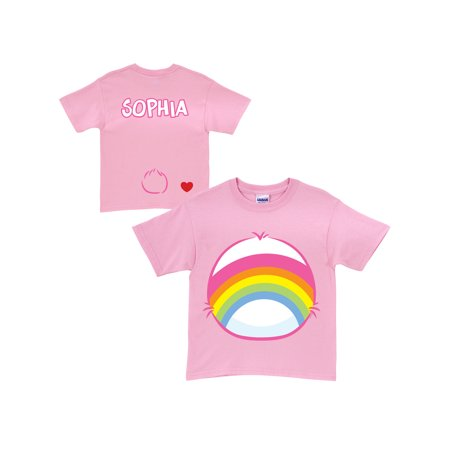 Personalized Care Bears Cheer Bear Belly Badge Pink T-Shirt