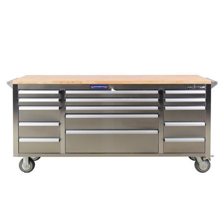 Stainless Workbench - FRONTIER 72 inch Stainless Steel Utility, Tool Cabinet Organizer with 15 drawers and 1.25 inch thick wooden work surface.