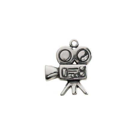 Sterling Silver One-Sided Motion Picture Film Camera or Video Camera Charm Item #43476