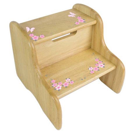 Pink Butterfly Stool - Personalized Pink and Gray Butterflies Wooden Two Step Stool