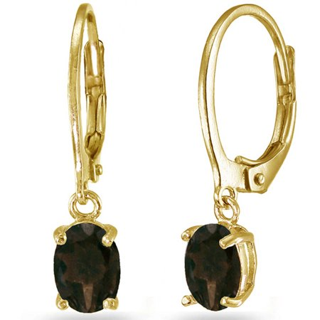 Smokey Quartz Yellow Gold Flashed Sterling Silver 7mm x 5mm Oval Dangle Leverback Earrings