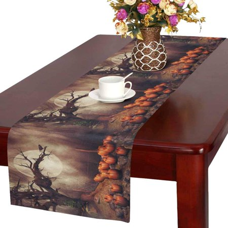 MKHERT Halloween Pumpkin Field with Old Tree and Raven at Foggy Forest Table Runner Home Decor for Wedding Banquet Decoration 16x72 - Halloween Foggy Night