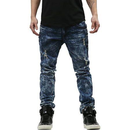 Mens Skinny Fit Stretch Jeans Distressed Ripped Denim Pants