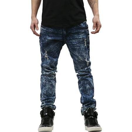 Mens Skinny Fit Stretch Jeans Distressed Ripped Denim (Skinny Face Men)