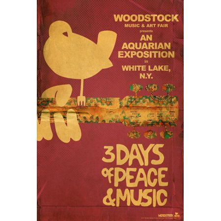 Woodstock - Collage (Pink) Purple Distressed 1960s Rock Music Festival Print Wall Art