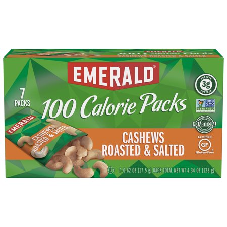 Emerald Nuts Cashews Roasted and Salted, 100 Calorie Packs, 10