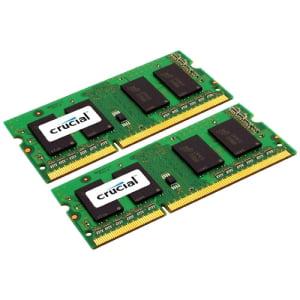 Crucial 4GB DDR3 SDRAM Memory Module - 4 GB (2 x 2 GB) - DDR3 SDRAM - 1333 MHz DDR3-1333/PC3-10600 - 1.35 V - Non-ECC - Unbuffered - 204-pin - SoDIMM