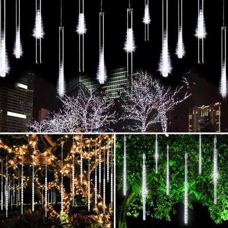 LED Meteor Shower Lights Strip, EEEkit 12 Inch 8 Tube 144 Leds Falling Rain Drop Icicle Snow Fall String LED Waterproof Lights for Holiday Xmas Tree Valentine Wedding Party Decoration](Valentine Lights Decorations)