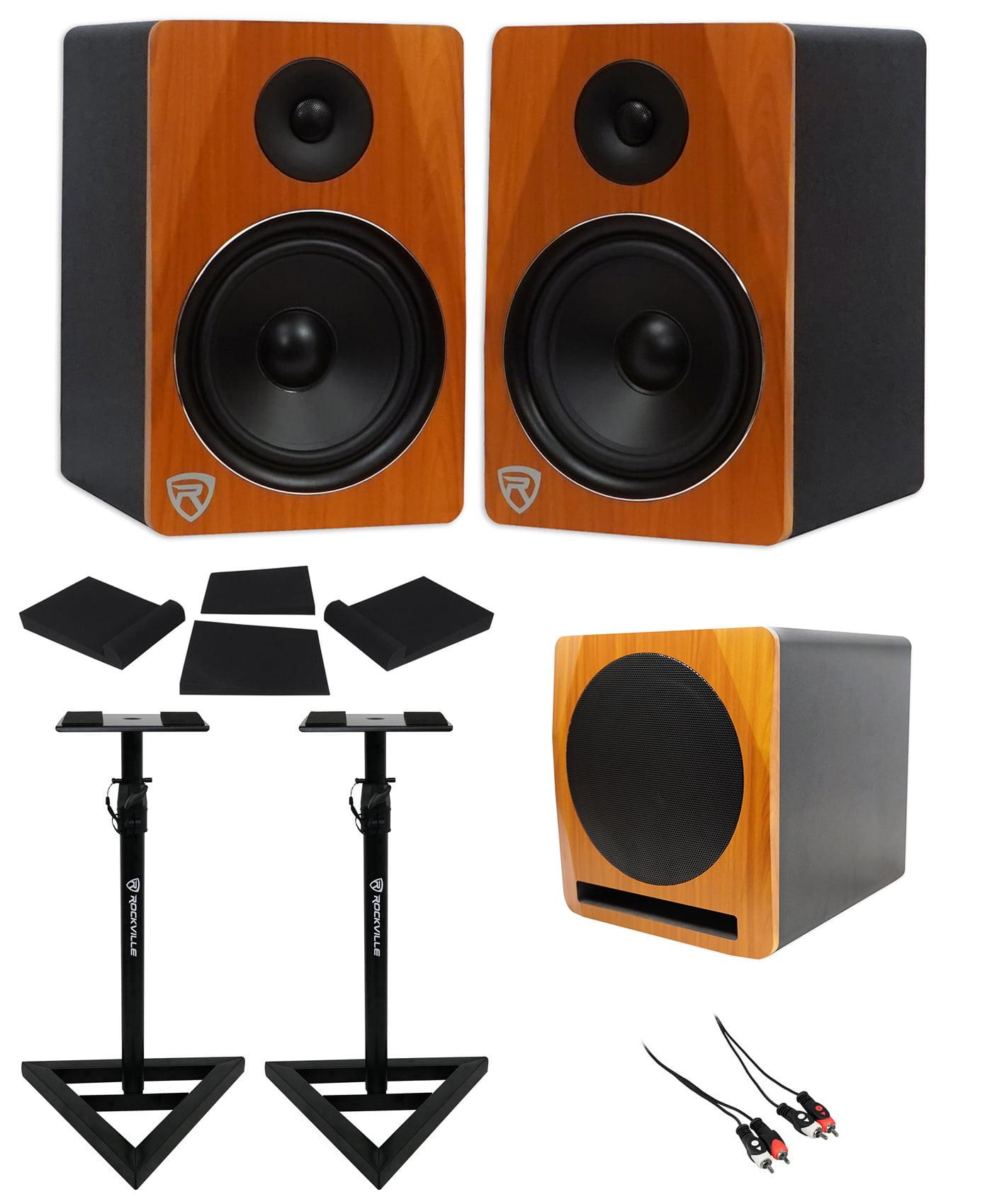 "(2) Rockville APM8C 8"" Powered Studio Monitors+Active 10"" Subwoofer+Stands+Pads by ROCKVILLE"