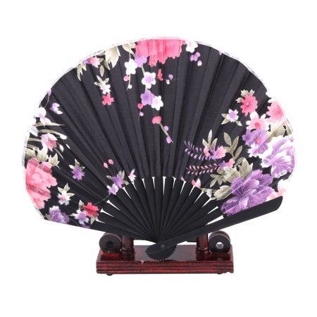 Dancing Flower Print Chinese Style Foldable Hand Fan Display Multicolor 2 in 1](Chinese Hand Fan)