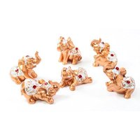 Set of 6 Gold Color Lucky Elephants Statues Feng Shui Figurine Home Decor Housewarming Birthday Congratulatory Gift