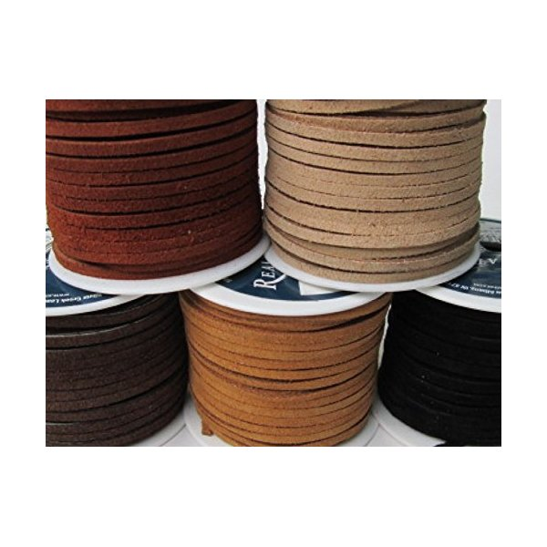 Lace Lacing Leather Suede Earthtone Assortment Craft Kit; 10 Yards (5 colors, 2 Yards of each)
