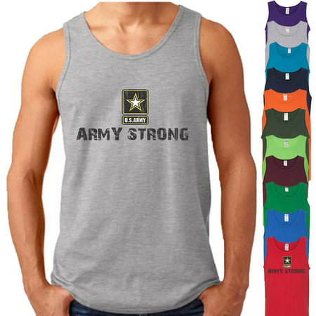 ARMY STRONG Star Logo MAN TANK TOP America US Military Army Forces Tee Tank Top Size
