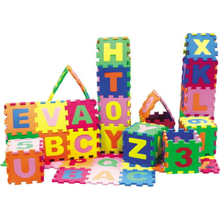 Alphabet Squares Mat (Baby Foam Play Mat (36-Piece Set) 5x5 Inches Interlocking Alphabet and Numbers Floor Puzzle Colorful EVA Tiles Girls Boys Soft Reusable Easy to Clean by Dimple )