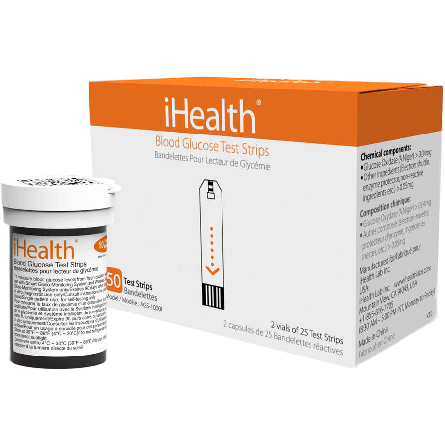 iHealth Blood Glucose Test Strips, 50 Ct