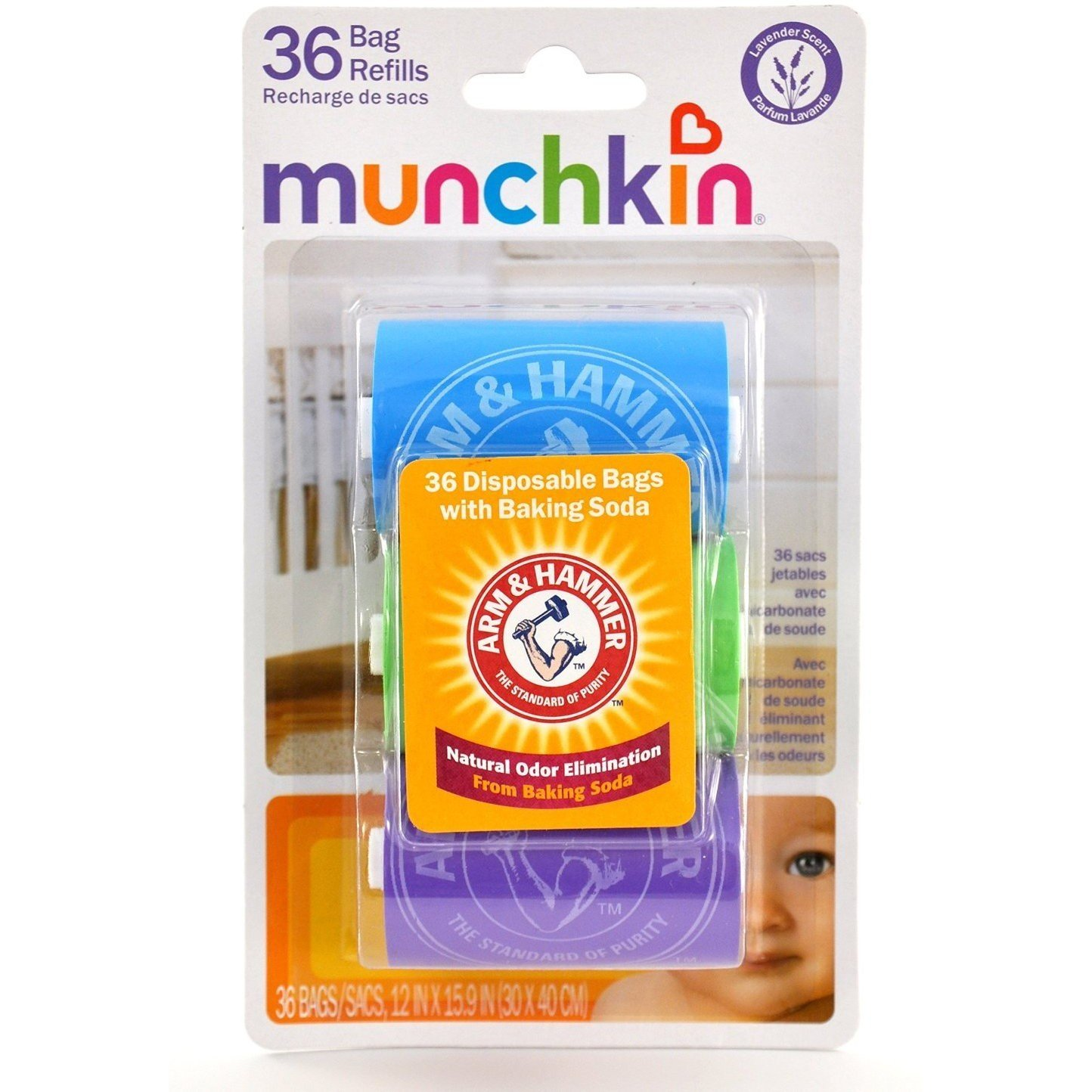 Munchkin Disposable Diaper Bag Refills, Lavender, 3 Count