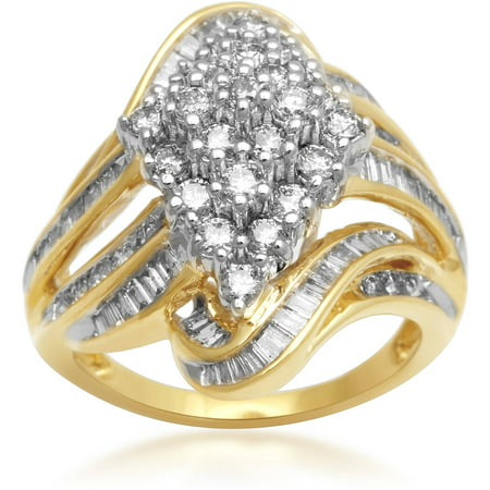 2 Carat T.W. Diamond 10kt Yellow Gold Cluster Fashion - Cluster Fashion Ring