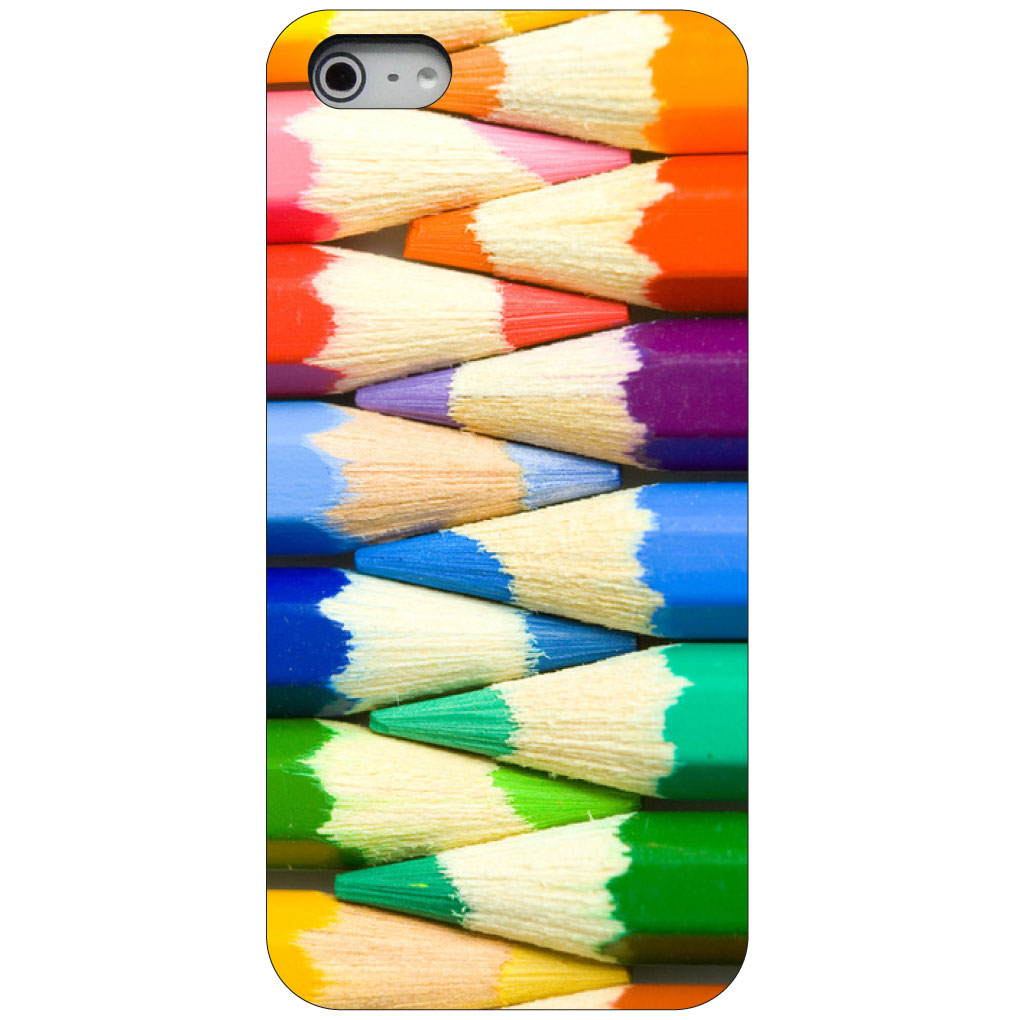 CUSTOM Black Hard Plastic Snap-On Case for Apple iPhone 5 / 5S / SE - Rainbow Colored Pencils