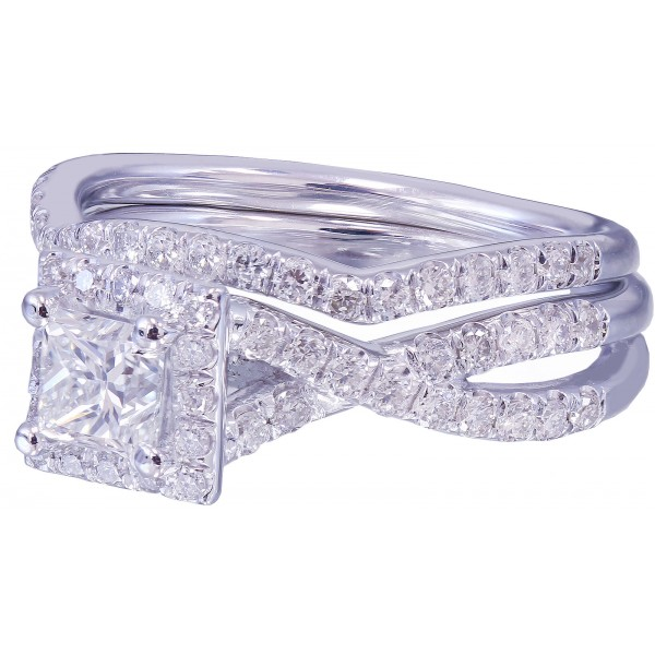14k White Gold Princess Cut Diamond Engagement Ring 1.60ctw