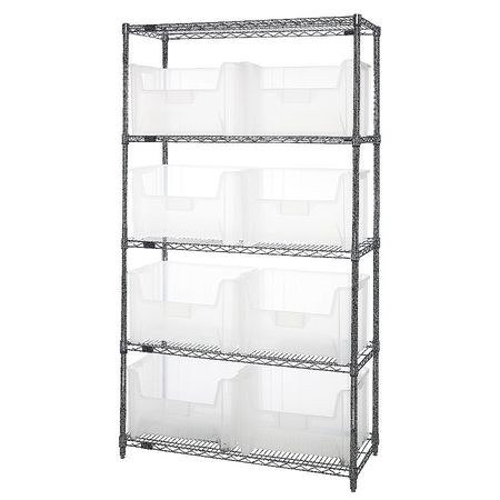 Bin Shelving,Wire,42X18,8 Bins,Clear