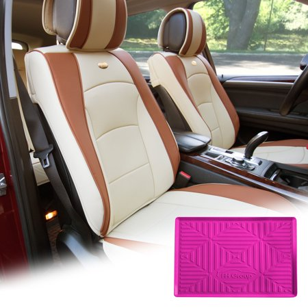 Magnificent Fh Group Beige Pu Leather Front Bucket Seat Cushion Covers For Auto Car Suv Truck Van With Hot Pink Dash Mat Combo Theyellowbook Wood Chair Design Ideas Theyellowbookinfo
