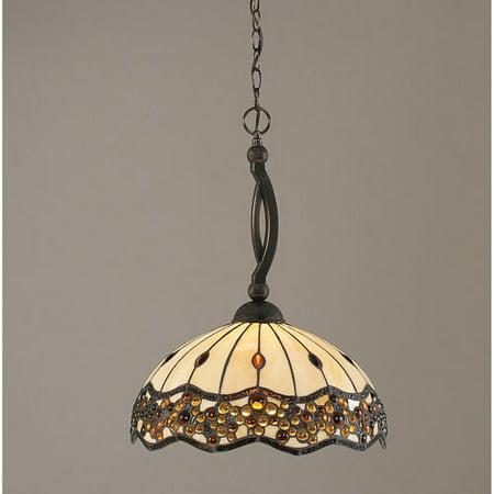 Bow Black Copper One-Light Pendant with Roman Jewel Tiffany Glass (Roman Glass Stone)