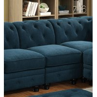 Furniture of America Calista Contemporary Tufted Armless Chair, Dark Teal