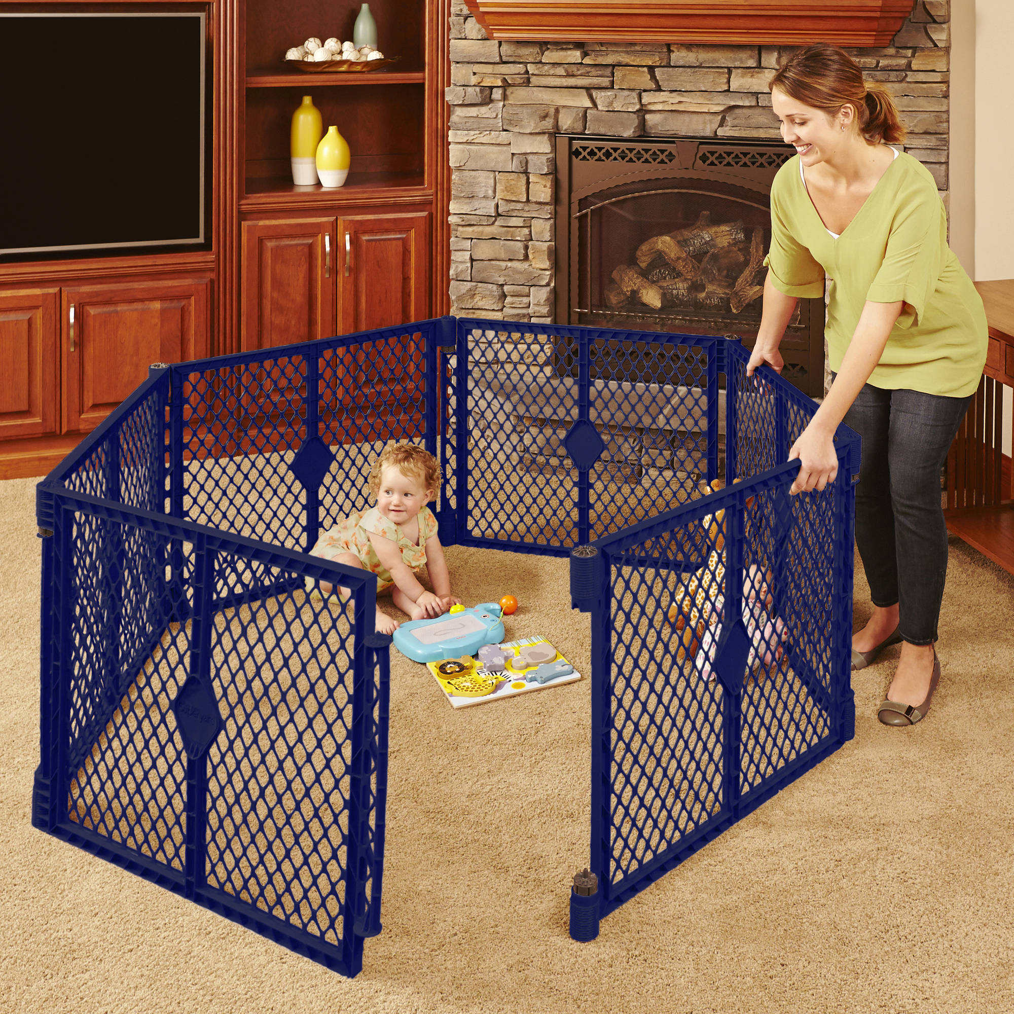North States 6 Panel Navy Portable Indoor Outdoor Baby Superyard Playard