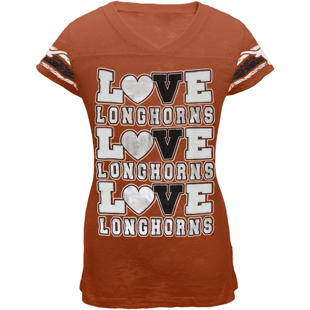 Texas Longhorns - Foil Love Girls Youth Burnout T-Shirt