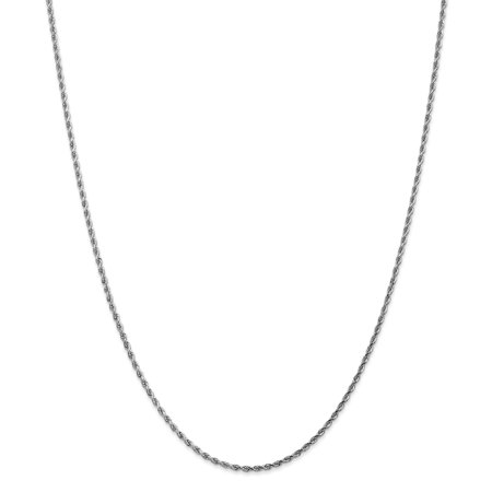 14k White Gold 1.75mm Link Rope Chain Necklace 16 Inch Pendant Charm Handmade Fine Jewelry For Women Valentines Day Gifts For Her - image 9 de 9