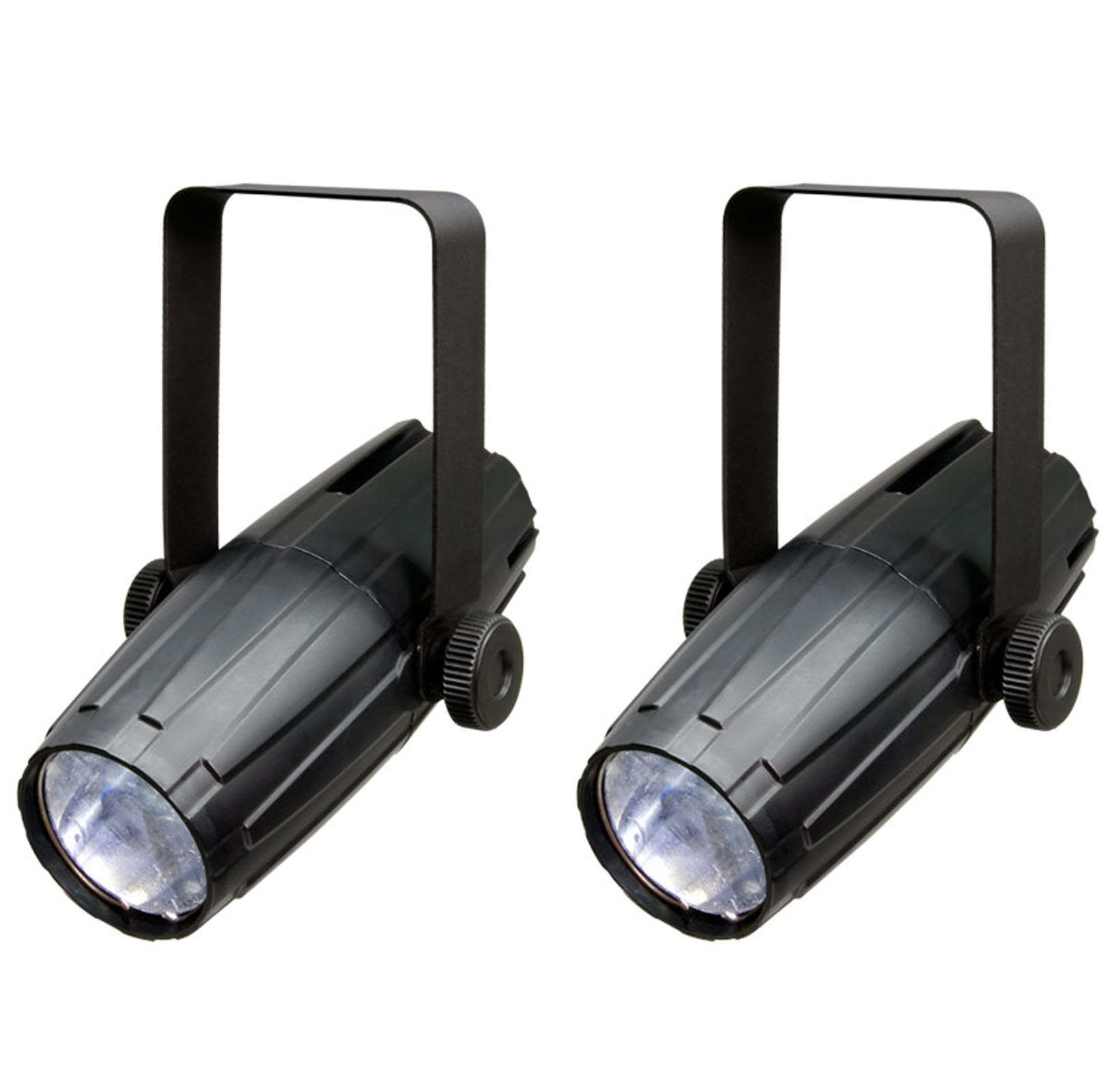 (2) New CHAUVET LED PINSPOT 2 High-Power 3W DJ Mirror Ball Spotlights w RGB Gels by Chauvet Dj