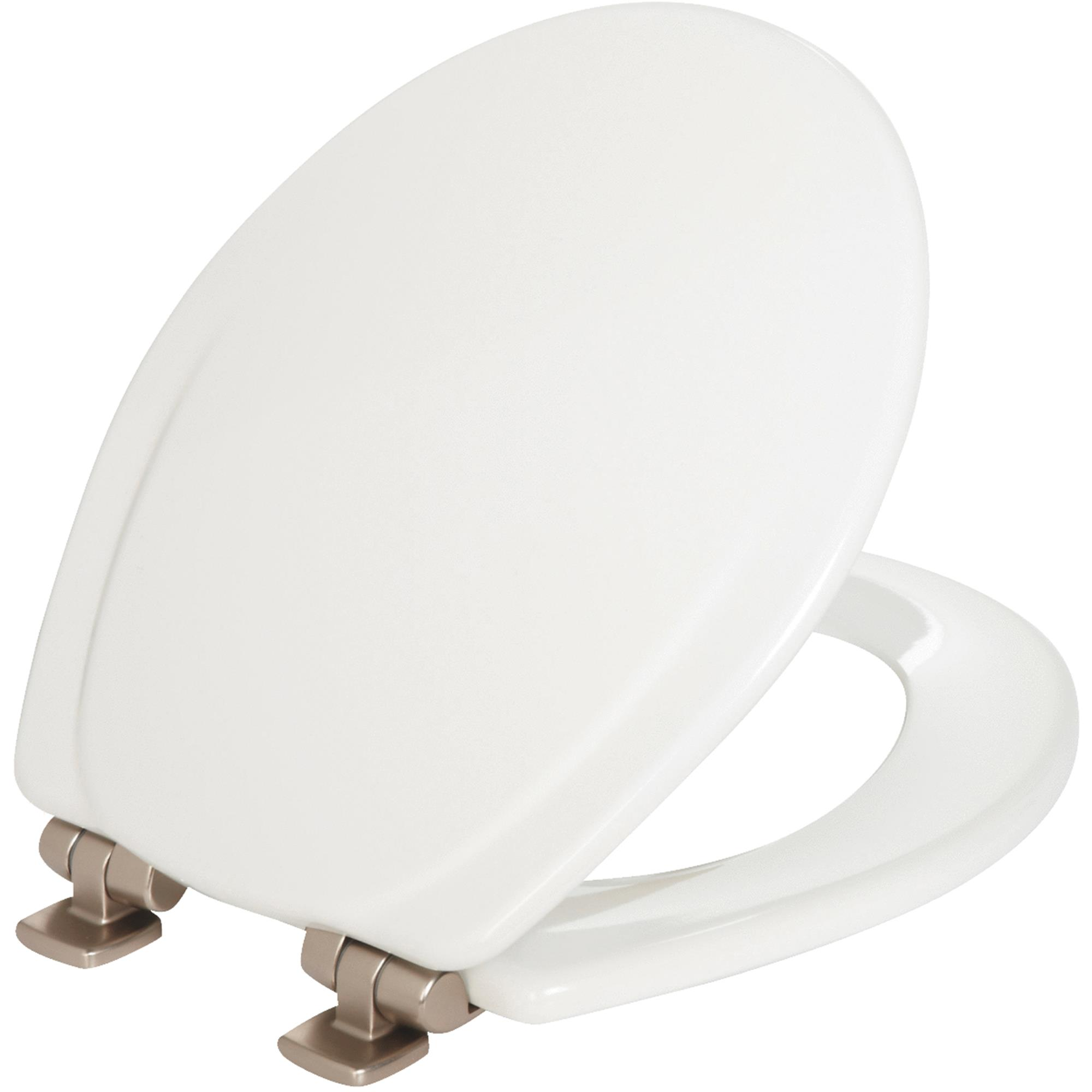 Mayfair 30NISLB Wood Round Slow-Close Toilet Seat, White by Mayfair