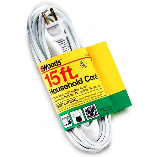 Woods 15 Foot White Indoor Extension Cord