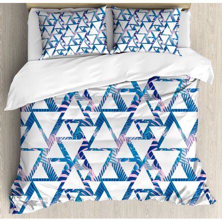 Leaf Queen Size Duvet Cover Set, Tropical Pattern with Exotic Palm Leaves and Geometrical Triangle Shapes, Decorative 3 Piece Bedding Set with 2 Pillow Shams, Blue Pale Pink White, by Ambesonne ()