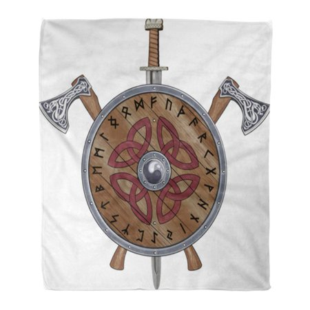 SIDONKU 50x60 inch Super Soft Throw Blanket Two Viking Axe Sword End Shield Decorated Scandinavian Runes and Ornamental Home Decorative Flannel Velvet Plush Blanket