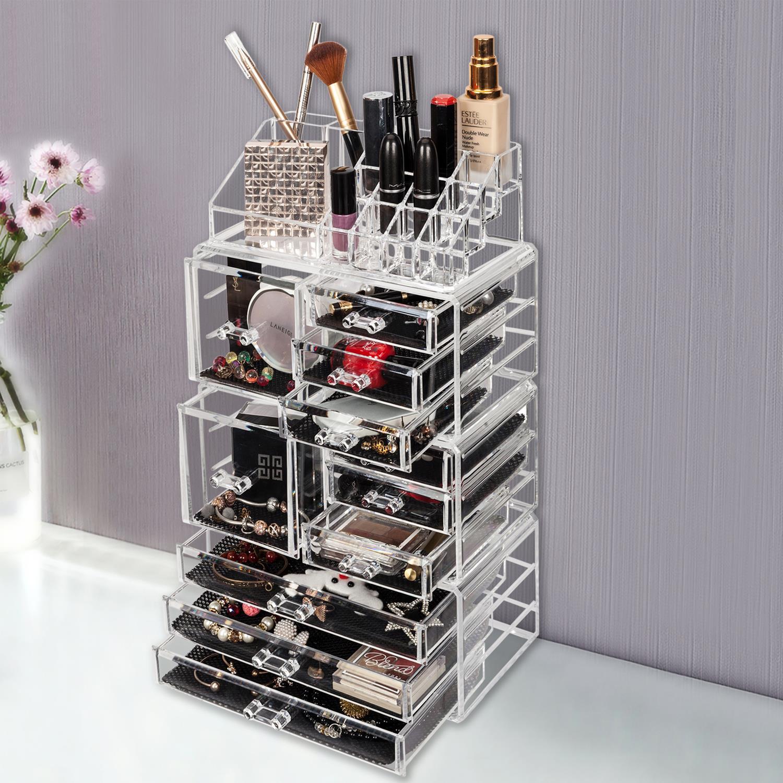 Ktaxon 11 Drawers Clear Acrylic Tower Organizer Cosmetic Jewelry Luxury Storage Cabinet